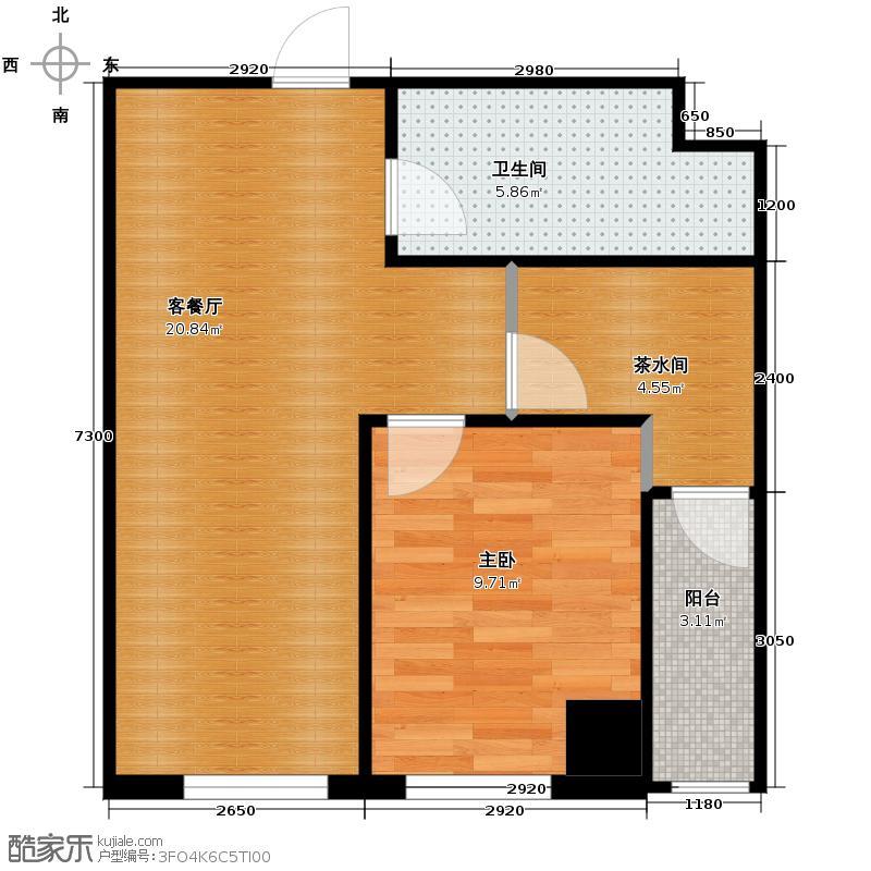 美联大厦65.47㎡A4户型1室2厅1卫