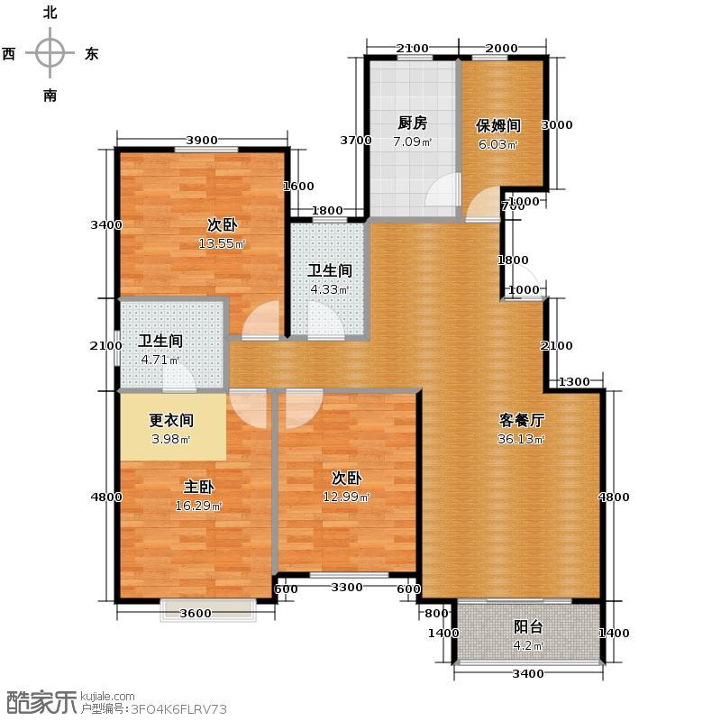 京汉君庭133.00㎡E端约户型10室