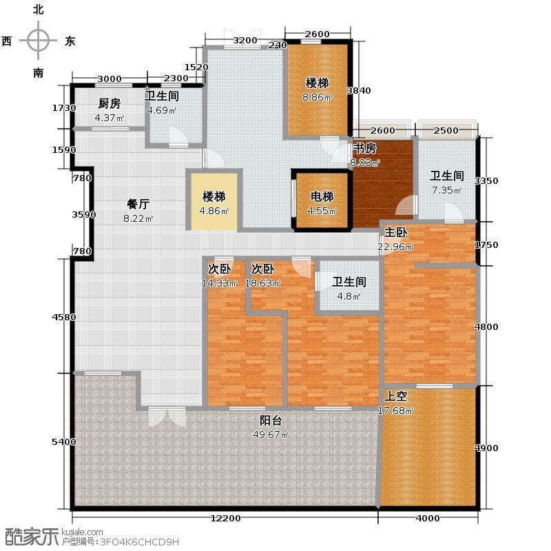 金地名京195.00㎡14号楼户型4室2厅3卫