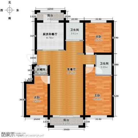 塞纳阳光3室2厅2卫0厨118.00㎡户型图