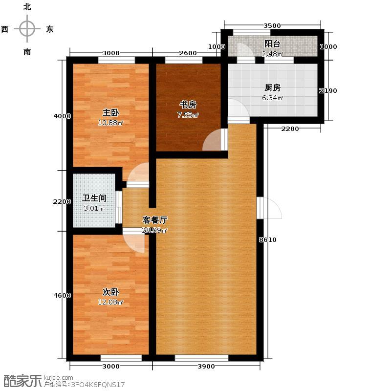 兆丰凯旋明珠106.50㎡7、8号楼P户型3室2厅1卫