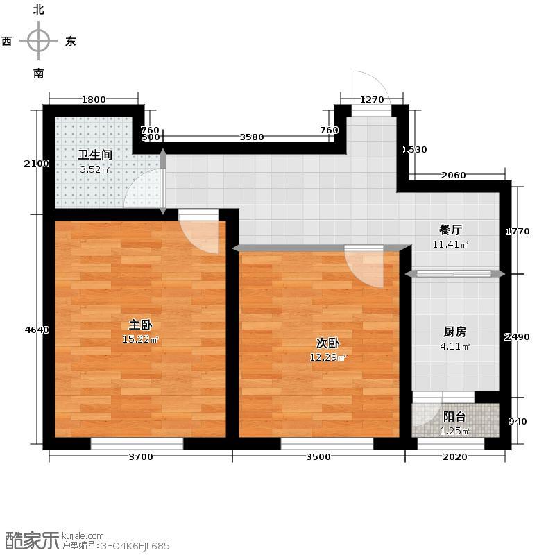 福苑55.79㎡户型2室1厅1卫1厨
