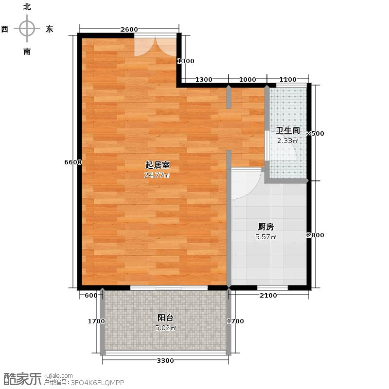京汉君庭51.06㎡A0/A0反户型1室1厅1卫