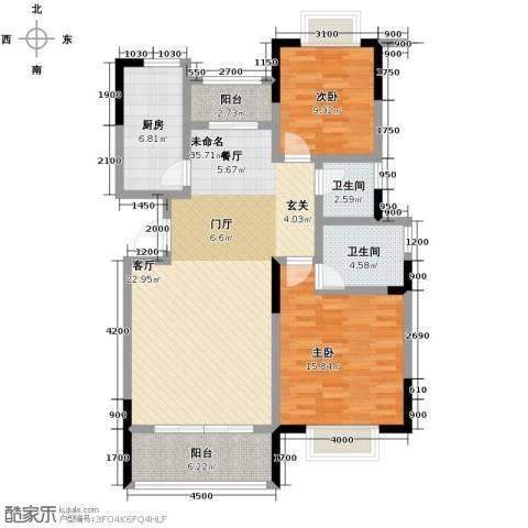 卓达・太阳城1室2厅2卫0厨119.00㎡户型图