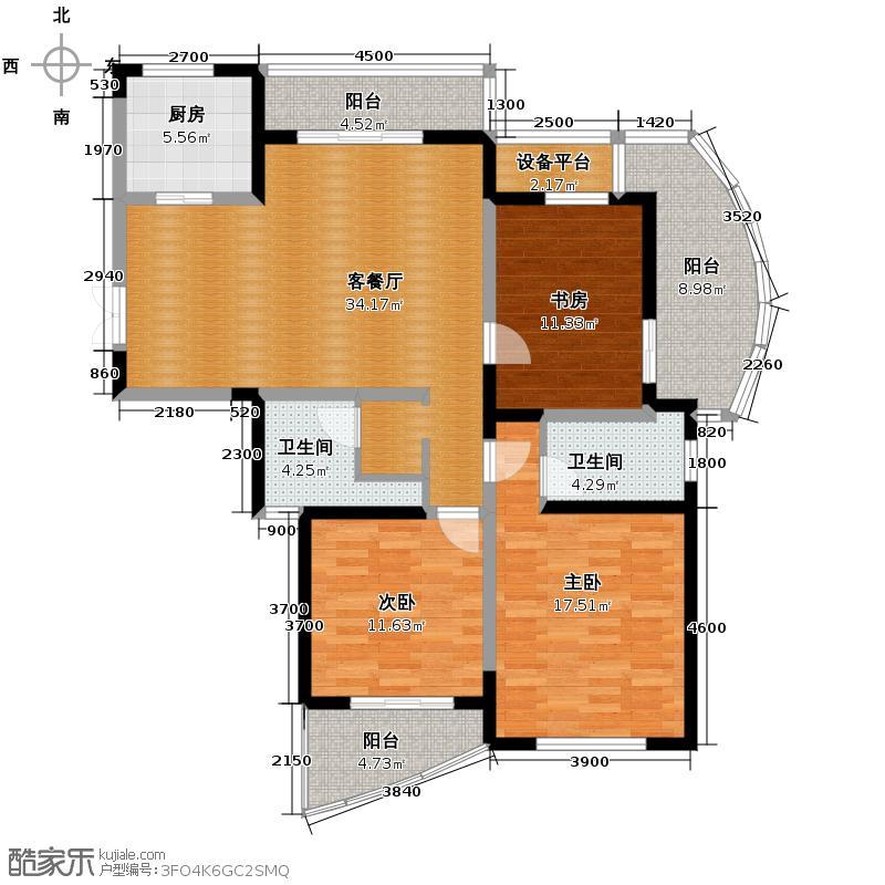 万和国际137.00㎡A户型3室2厅2卫