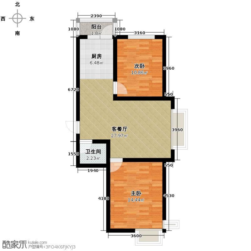 福苑65.70㎡户型2室1厅1卫