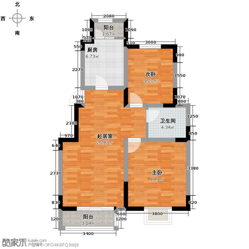 卓达太阳城87.69㎡【30-1/31/33】-01户型2室2厅1卫