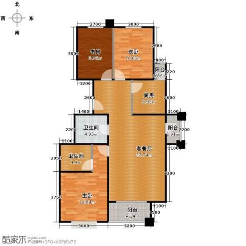4号线孔雀大卫城3室1厅2卫1厨110.00㎡户型图