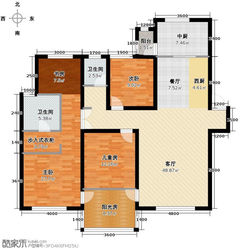 中海国际社区155.00㎡长滩组团C户型3室1厅2卫