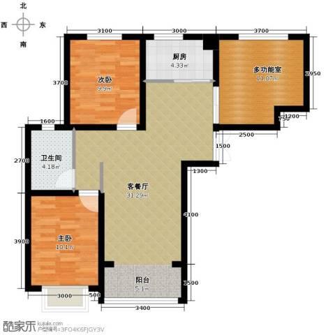 香榭家园2室1厅1卫1厨86.00㎡户型图