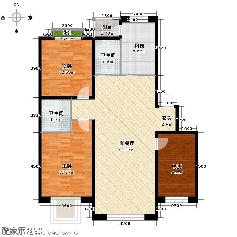 荣发时代新城129.00㎡D户型3室2厅2卫