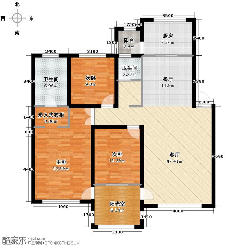 中海国际社区147.00㎡长滩组团B户型3室1厅2卫1厨