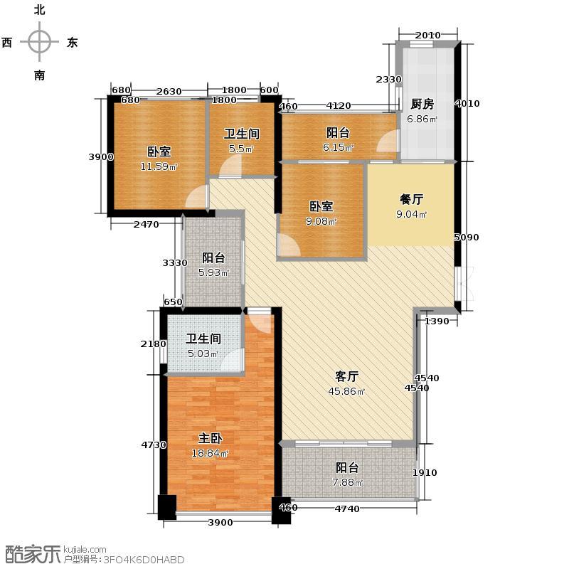 新大陆壹号145.00㎡10#08单元户型3室2厅2卫