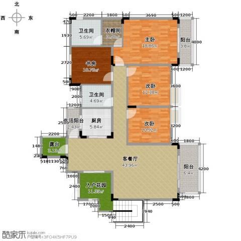 中铁山水一舍4室1厅2卫1厨144.02㎡户型图