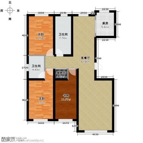南湖祥水湾3室1厅2卫1厨140.00㎡户型图