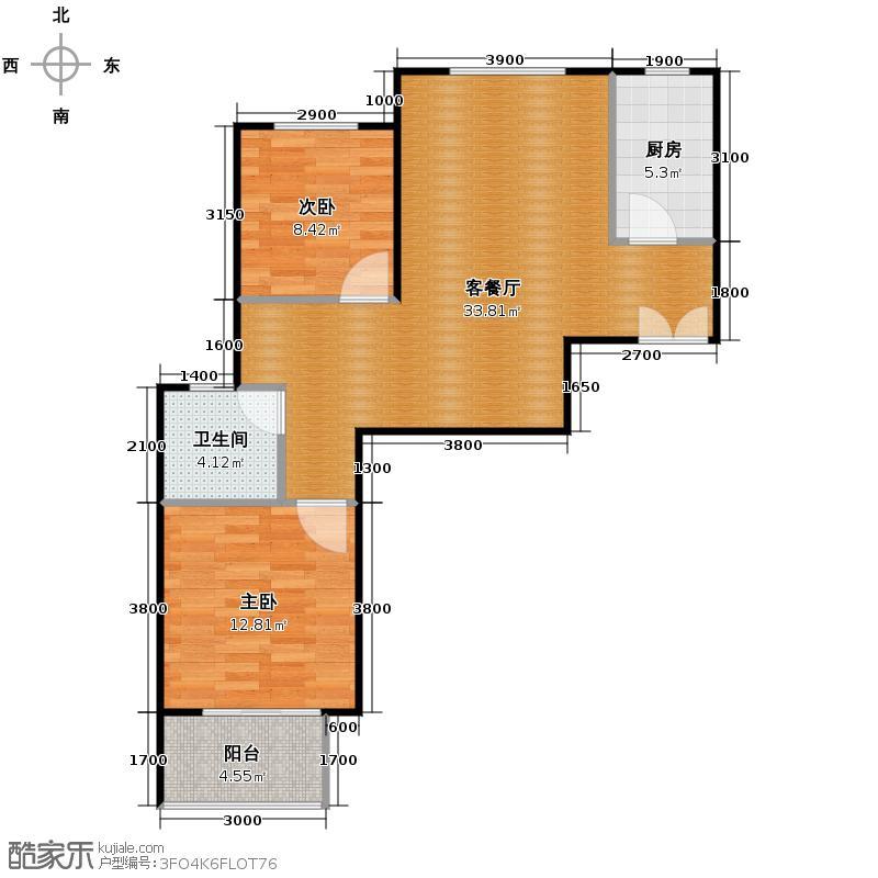 京汉君庭92.70㎡B3户型2室2厅1卫