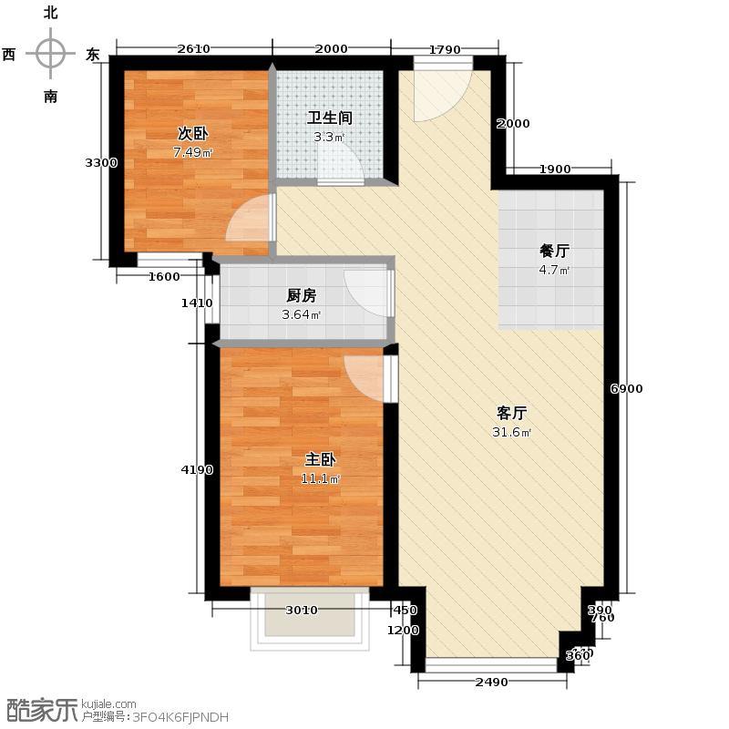 4号线孔雀大卫城82.00㎡五期E3已售完户型2室1厅1卫1厨