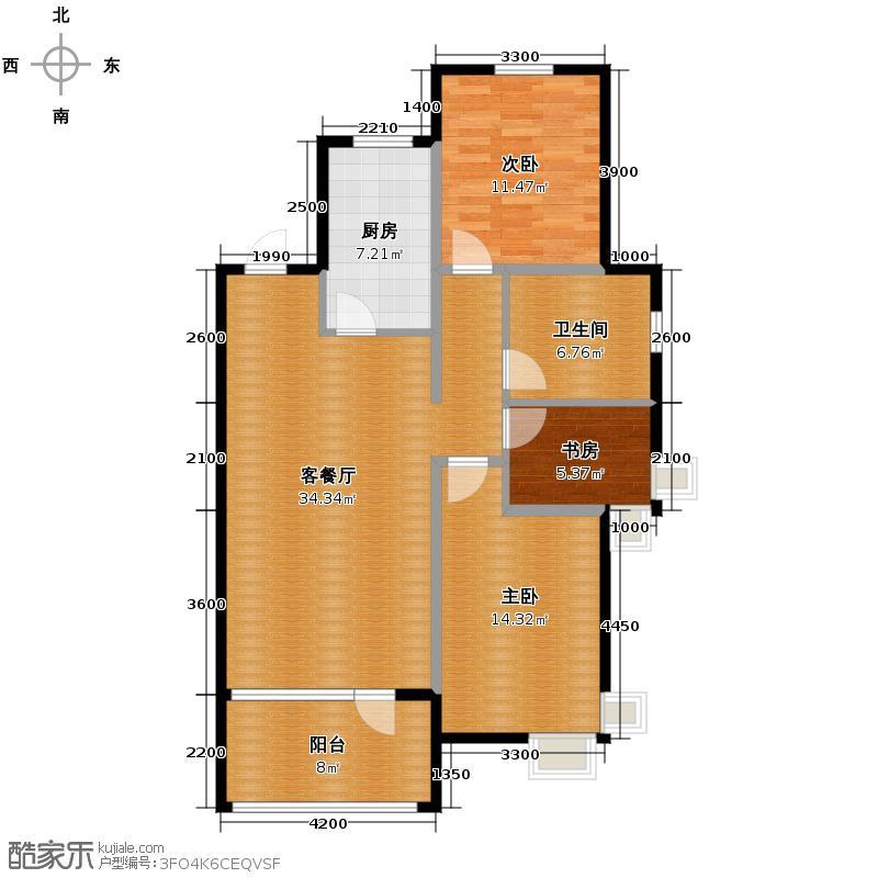 首创国际城117.00㎡户型3室2厅1卫