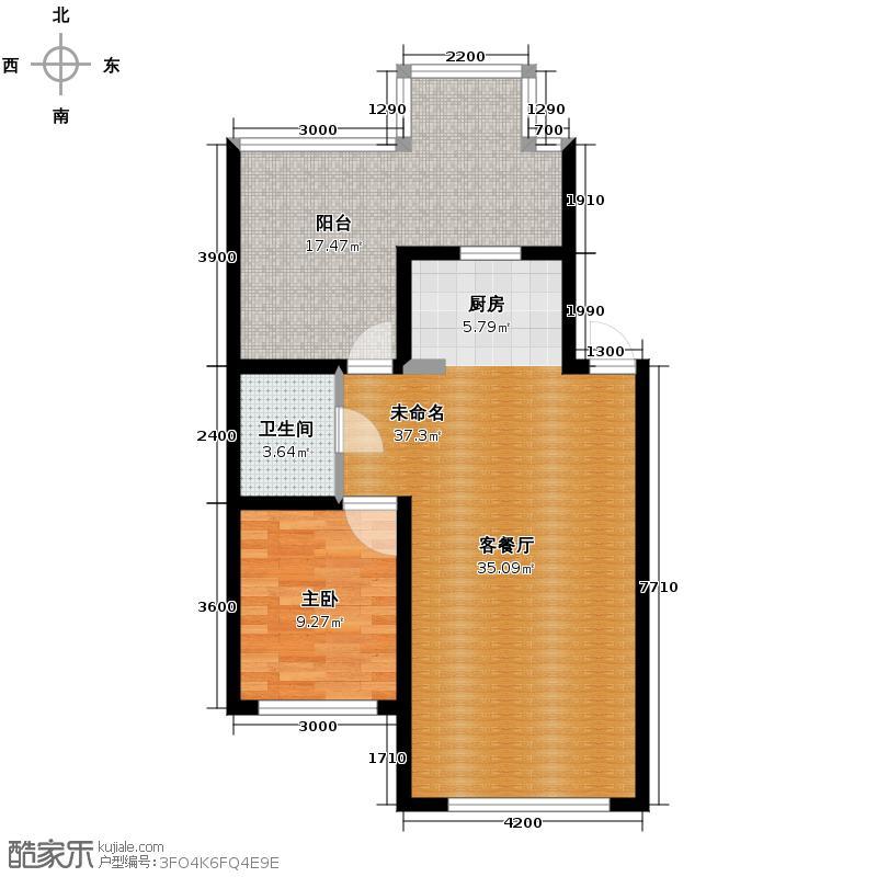 龙泰檀香苑65.00㎡g4户型1室1厅1卫
