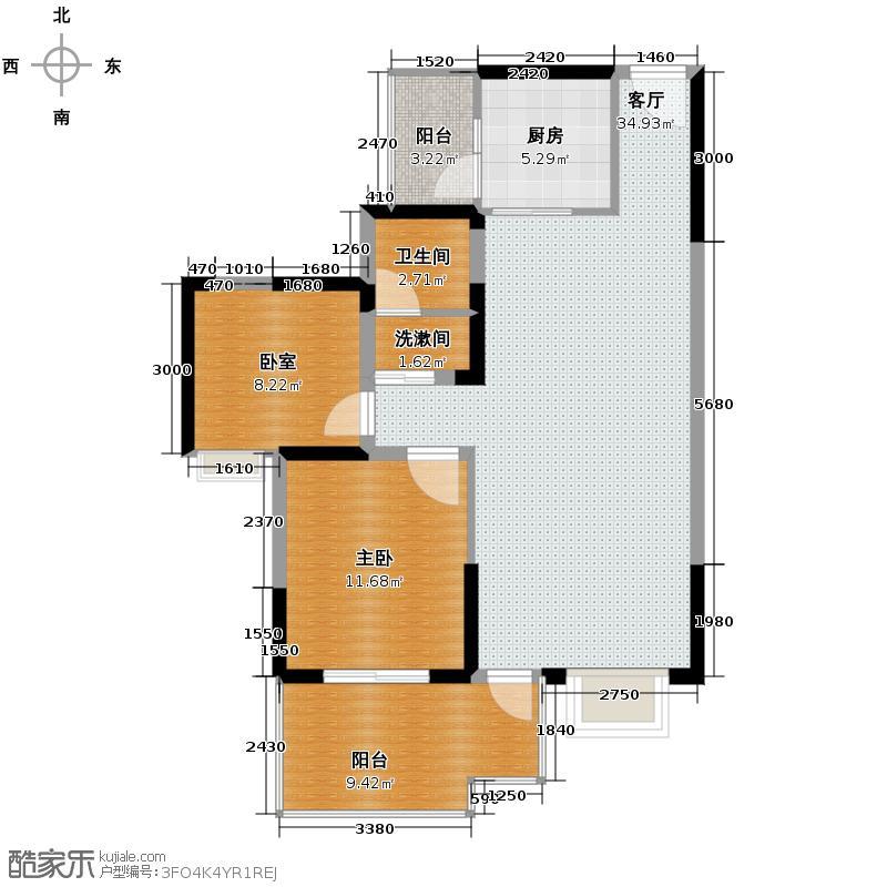 蓝谷地二期88.00㎡9号楼2a-1a奇数层户型1室1厅1卫1厨