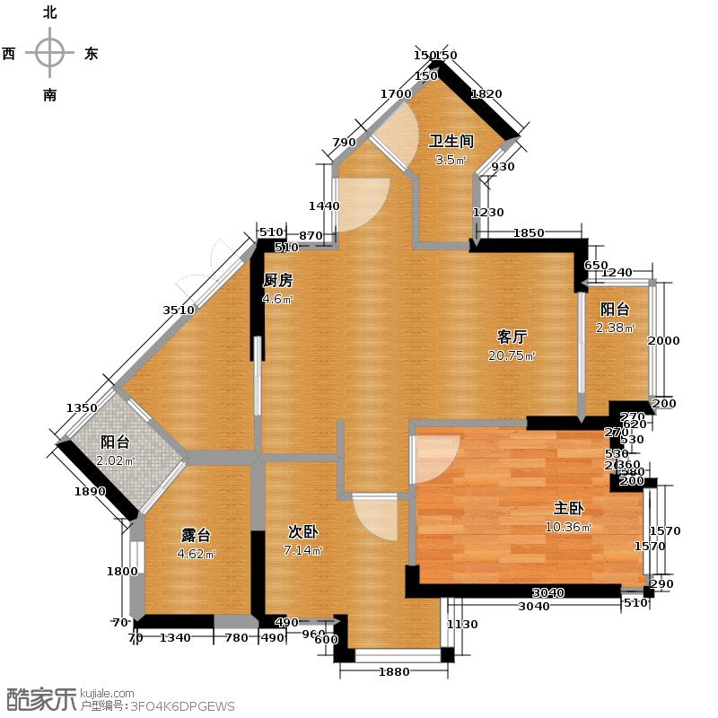 中海锦城72.00㎡三街1栋02单元户型2室2厅1卫