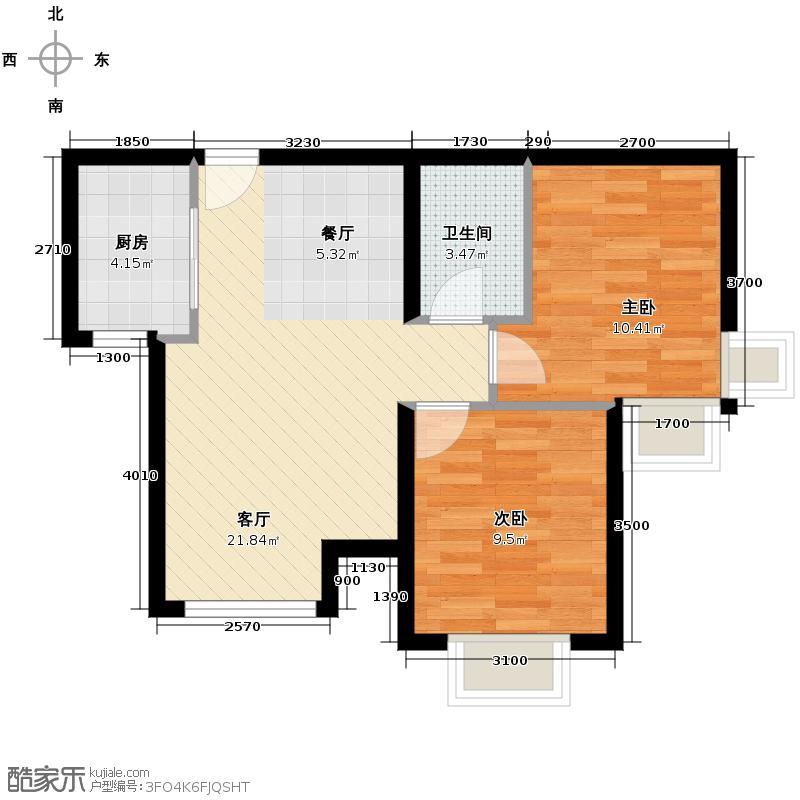 4号线孔雀大卫城78.00㎡H3反户型2室1厅1卫1厨