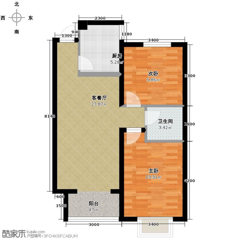西堤国际89.40㎡B61户型2室1厅1卫1厨