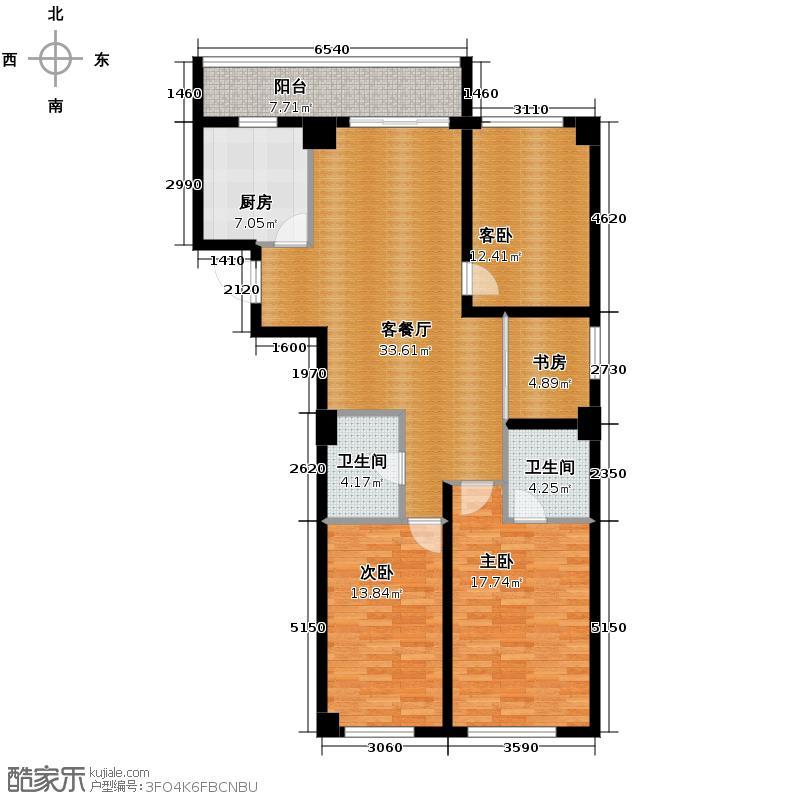 广厦摩卡公馆120.62㎡户型3室2厅2卫