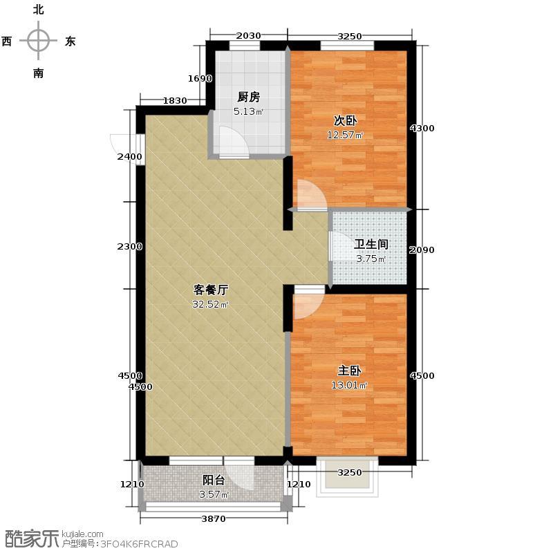 瑞赛居圣苑98.00㎡A19、20#户型2室1厅1卫1厨