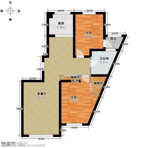 南湖祥水湾2室1厅1卫1厨114.00㎡户型图