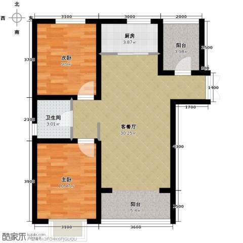 香榭家园2室1厅1卫1厨84.00㎡户型图