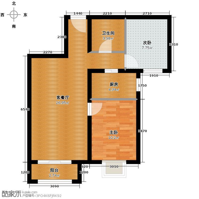 4号线孔雀大卫城64.54㎡J反已售完户型2室1厅1卫1厨