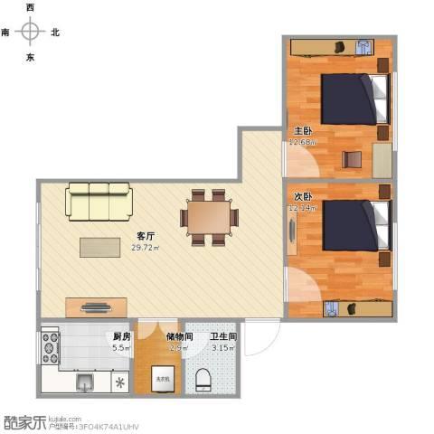 三间房西里2室1厅1卫1厨89.00㎡户型图