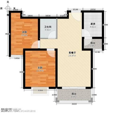 凡尔赛公馆2室1厅1卫1厨84.00㎡户型图