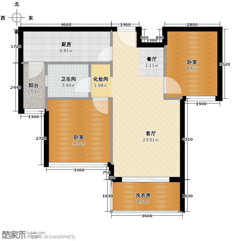 重汽翡翠东郡86.00㎡7-A2标准层户型2室2厅1卫