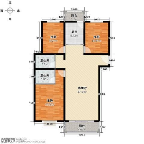 凡尔赛公馆3室1厅2卫1厨132.00㎡户型图