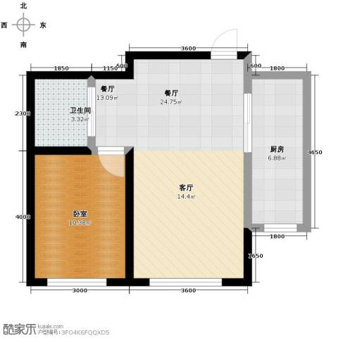 中冶蓝城1室2厅1卫0厨65.00㎡户型图