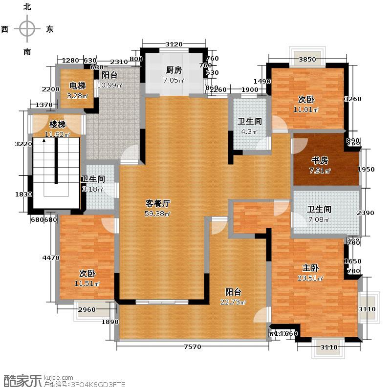 德意空港国际170.71㎡E东边套户型5室2厅2卫