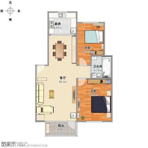 魅力之城2室1厅1卫1厨83.00㎡户型图
