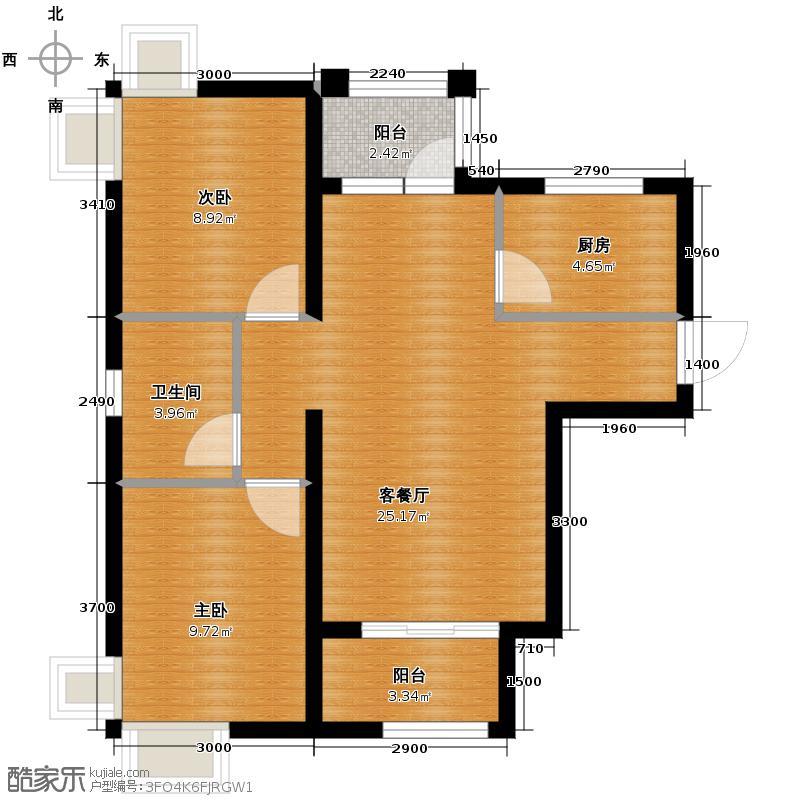 4号线孔雀大卫城67.03㎡I1反已售完户型2室1厅1卫1厨