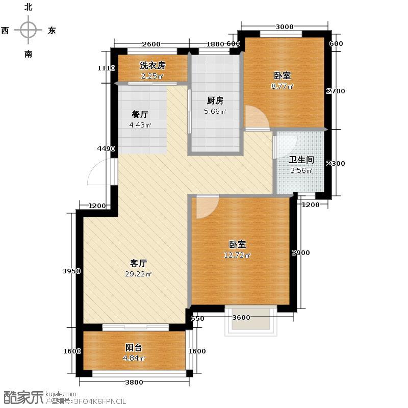 重汽翡翠东郡88.00㎡7-A1(1-5层)户型2室2厅1卫
