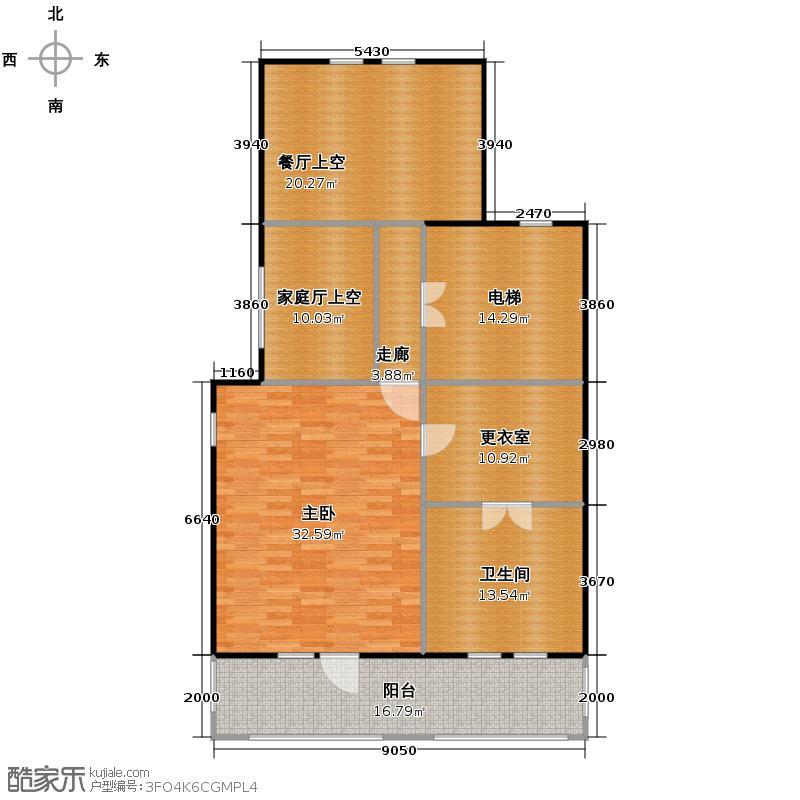 阳光100果岭公馆85.00㎡B1a之二层平面图户型10室