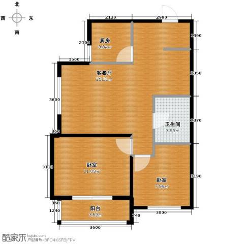 西堤国际1厅1卫1厨85.00㎡户型图
