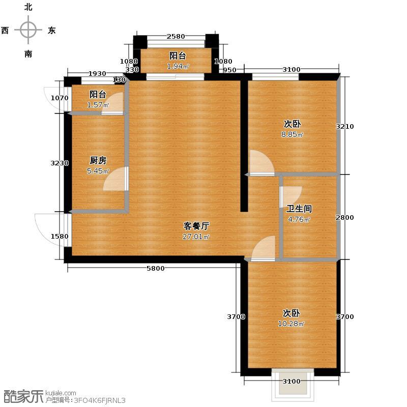 4号线孔雀大卫城67.51㎡H已售完户型2室1厅1卫1厨