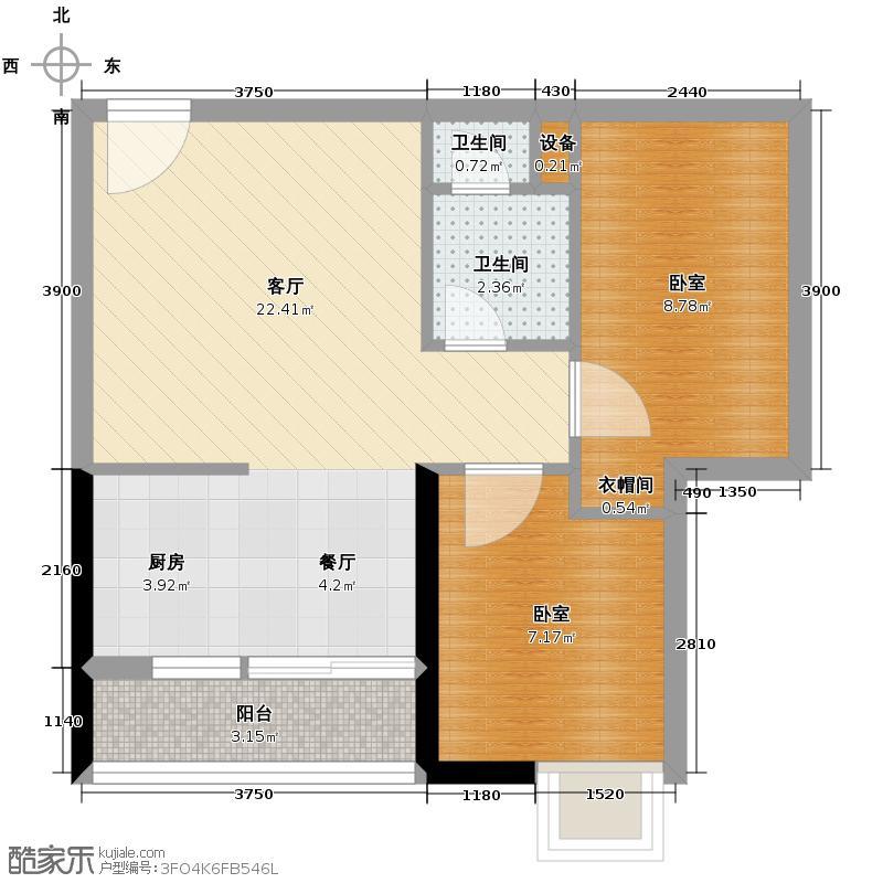 玫瑰铂金公馆65.00㎡1座05单位户型2室2厅1卫