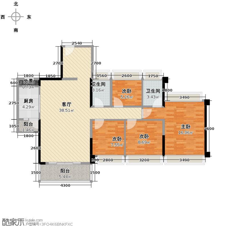 东海银湾118.00㎡9座02单元户型4室2厅2卫