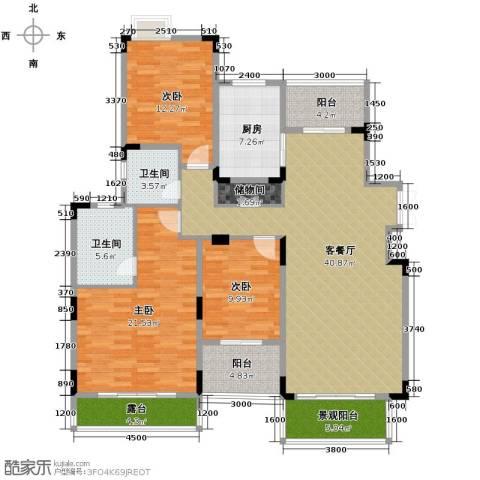 中铁山水一舍3室1厅2卫1厨123.00㎡户型图
