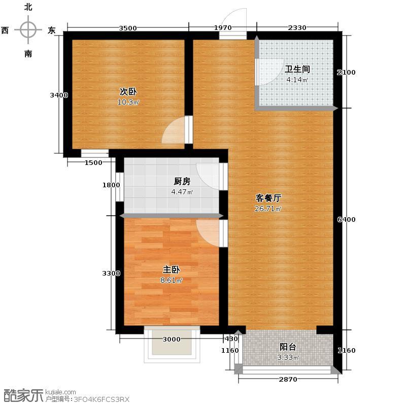 夏威夷・蓝湾78.00㎡A2户型1室2厅1卫