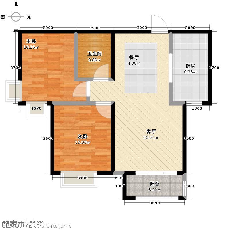 4号线孔雀大卫城64.87㎡F已售完户型2室1厅1卫1厨