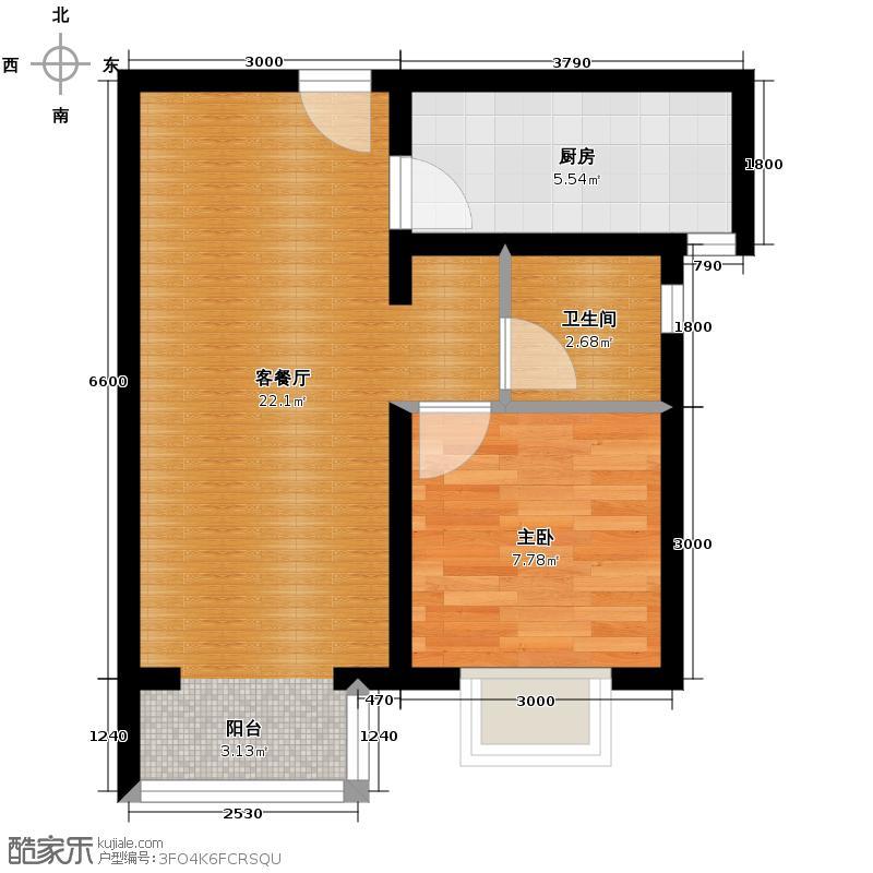夏威夷・蓝湾58.00㎡B3户型1室2厅1卫